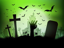 Halloween landscape with zombie hand in graveyard royalty free illustration