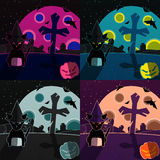 Halloween landscapes set Royalty Free Stock Images