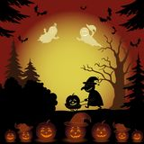 Halloween-Landschaft, -geister, -kürbise und -hexe Stockbilder