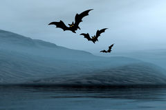 Halloween-Landschaft mit Hieben Stockfotografie