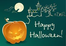 Halloween-Landschaft mit Kürbis Lizenzfreie Stockfotografie