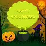 Halloween-Landschaft mit Spracheblase Stockbild