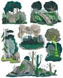 Halloween-Landschaften eingestellt Gruselige Garten-, Wald- und Wiesenlandschaft mit Bäumen, Anlagen, Büsche, Blumen Lokalisierte stock abbildung