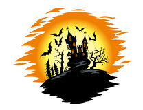 Halloween-landschap Stock Afbeelding