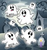 Halloween-landschap met begraafplaats 7 Stock Foto's