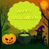 Halloween-landschap met toespraakbel Stock Afbeelding