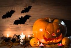 Halloween-lantaarn van de pompoen de hoofdhefboom Stock Afbeeldingen