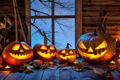 Halloween-lantaarn van de pompoen de hoofdhefboom Royalty-vrije Stock Foto's
