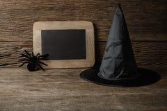 Halloween-lantaarn van de pompoen de hoofdhefboom met schoolbord en Heks h Royalty-vrije Stock Afbeeldingen