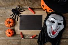 Halloween-lantaarn van de pompoen de hoofdhefboom met schoolbord en Heks h Stock Fotografie