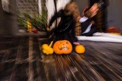 Halloween-lantaarn van de pompoen de hoofdhefboom op donkere houten achtergrond, B Stock Afbeelding