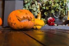 Halloween-lantaarn van de pompoen de hoofdhefboom op donkere houten achtergrond, c Royalty-vrije Stock Afbeelding