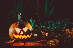 Halloween-lantaarn van de pompoenen de hoofdhefboom Royalty-vrije Stock Afbeeldingen