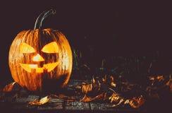 Halloween-lantaarn van de pompoenen de hoofdhefboom Royalty-vrije Stock Foto