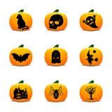 Halloween-Lantaarnpictogrammen royalty-vrije illustratie