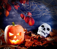 Halloween lantern pumpkin  in dark sky clouds Royalty Free Stock Photo