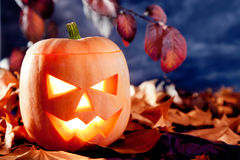 Halloween lantern pumpkin  in dark sky clouds Royalty Free Stock Images