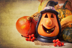 Halloween lantern and pumpkins Royalty Free Stock Photo
