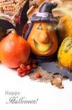 Halloween lantern and pumpkins Stock Photos