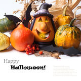Halloween lantern and pumpkins Stock Image