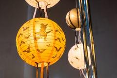 Halloween, lanterne di carta arancio Fotografie Stock