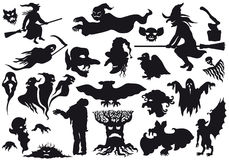 ??????Halloween las siluetas de los monstruos Imagenes de archivo