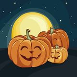 Halloween laughing pumpkins under the moonlight. Vector illustration. Halloween poster. stock illustration