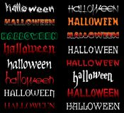 HALLOWEEN LETTERING IN COLOR. Colored halloween text with cracks and blood in vector on black background. See more in my portfolio Stock Photography