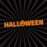 Halloween Lettering 3D text banner with sad orange pumpkin silhouette.  Royalty Free Stock Image