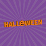 Halloween Lettering 3D text banner with sad orange pumpkin silhouette. Greeting card. Flat design. Violet baby starburst sunburst Royalty Free Stock Photo