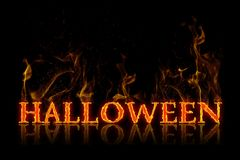Halloween lettering in english language. Burning on fire Stock Images