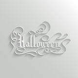 Halloween lettering Greeting Card. Halloween Hand lettering Greeting Card. Typographical Vector Background. Handmade calligraphy. 3d Gothic Font with Shadow Stock Image