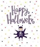 Halloween lettering greeting card - Happy Halloween. Hand drawn stylish illustration with text and child spaider costume. Royalty Free Stock Photos