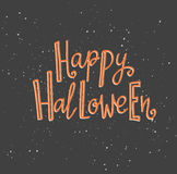 Halloween lettering greeting card - Happy Halloween. Vector holiday background. Stock Image