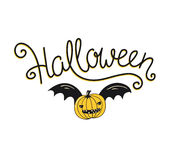 Halloween lettering greeting card. Vector holiday poster. Hand drawn stylish illustration with text and pumpkin with wings. Royalty Free Stock Images