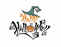 Halloween. Lettering. An inspirational magic inscription with a witch`s hat. Funny cartoon pumpkin monster. A fun card stock illustration