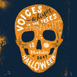 Halloween lettering in skull silhouette. Hand drawn Halloween lettering in skull silhouette. Voices whisper in the trees - tonoght is halloween. 31 october 2017 Stock Photos