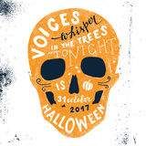 Halloween lettering in skull silhouette. Hand drawn Halloween lettering in skull silhouette. Voices whisper in the trees - tonoght is halloween. 31 october 2017 Royalty Free Stock Image