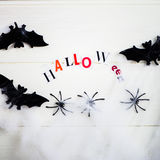 Halloween Letters cut out from the Magazines, Bats, Web and Blac Stock Photography