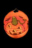 Halloween Light. Paper lantern with pumpkin-face - isolated on black background stock photos