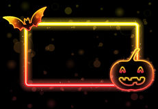 Halloween Lights Frame with Bat Stock Photos