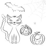 Halloween line art set. Line art Halloween vector set of cute cat, Jack O'Lantern, bats and spider on cobweb isolated on white Stock Photography