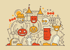 Halloween - line flat design card. Halloween party colored line flat design card with holidays symbols - monsters, pumpkins Stock Photos