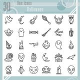 Halloween line icon set, horror symbols collection, vector sketches, logo illustrations, creepy signs linear pictograms. Package isolated on white background royalty free illustration