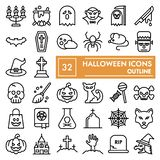 Halloween line icon set, spooky symbols collection, vector sketches, logo illustrations, scary signs linear pictograms. Package isolated on white background royalty free illustration