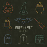 Halloween linear icons set with editable stroke Royalty Free Stock Photography