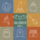 Halloween linear icons set with editable stroke Royalty Free Stock Photos