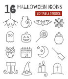 Halloween linear icons set with editable stroke Stock Photography