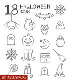Halloween linear icons set with editable stroke Royalty Free Stock Photo