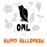 Halloween Lino cut Vector. Owl. Happy Halloween lino cut vector elements with texture. Latin hand lettered alphabet. Isolated decorative elements: pumpkin, witch Stock Photos